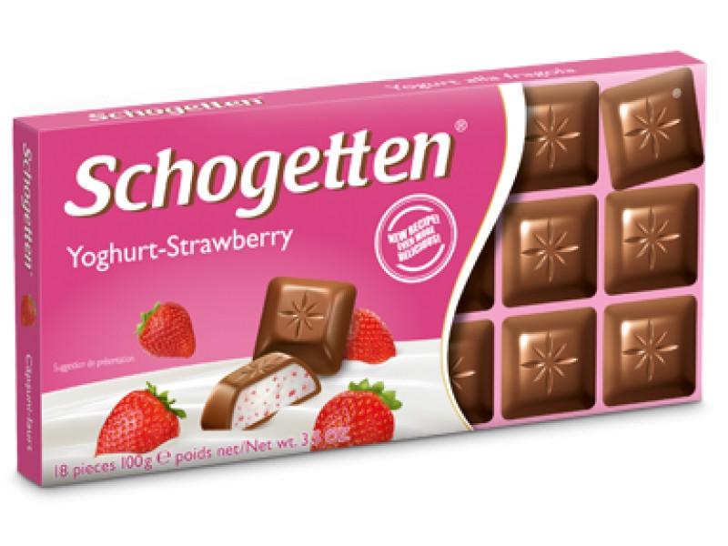 Молочный шоколад Schogetten  Йогурт-Клубника yoghurt strawberry 100гр (15 шт. в упаковке)