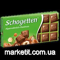 Молочный шоколад Schogetten Alpine Milk with Hazelnuts Фундук лесной орех 100гр (15 шт. в упаковке)