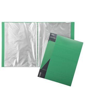 "Папка пластиковая ""Hatber"", А4, 600мкм, 80 вкладышей, 40мм, серия ""Standard Зелёная"