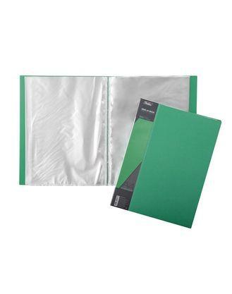 "Папка пластиковая ""Hatber"", А4, 600мкм, 100 вкладышей, 40мм, серия ""Standard Зелёная"""
