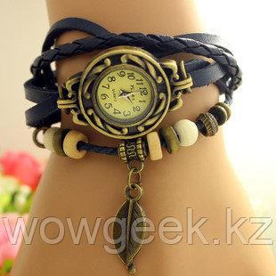 Винтажные женские часы на плетеном ремешке с листком