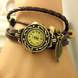 Винтажные женские часы на плетеном ремешке с листком, фото 2