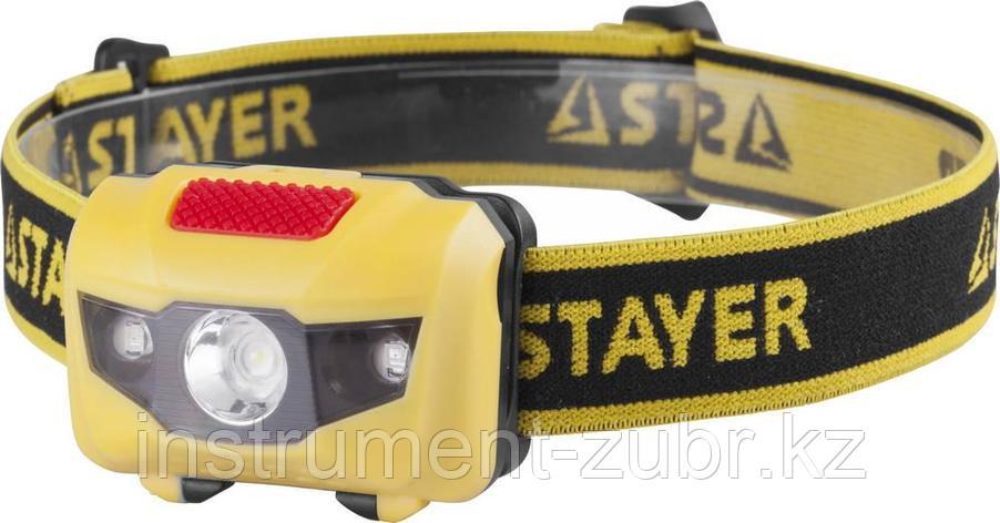 """Фонарь STAYER """"MASTER"""" налобный светодиодный, 1Вт(80Лм)+2LED, 4 режима, 3ААА, фото 2"""