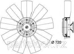 Крыльчатка вентилятора, in 12,5/ ex 69 на / для MERCEDES, МЕРСЕДЕС, POVERPLAST P1217