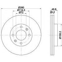 Тормозные диски Kia Carens (02-..., передние, Trw), фото 1