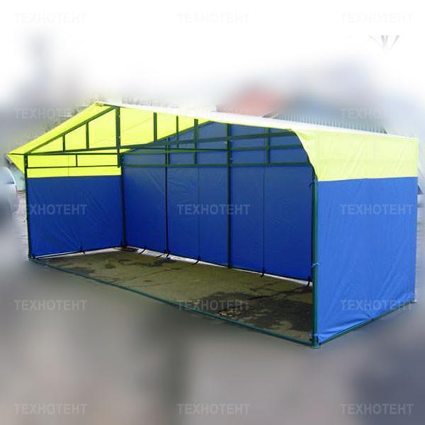 """Палатка торговая разборная """"Домик"""" 2,0x6,0 м желто-синяя"""