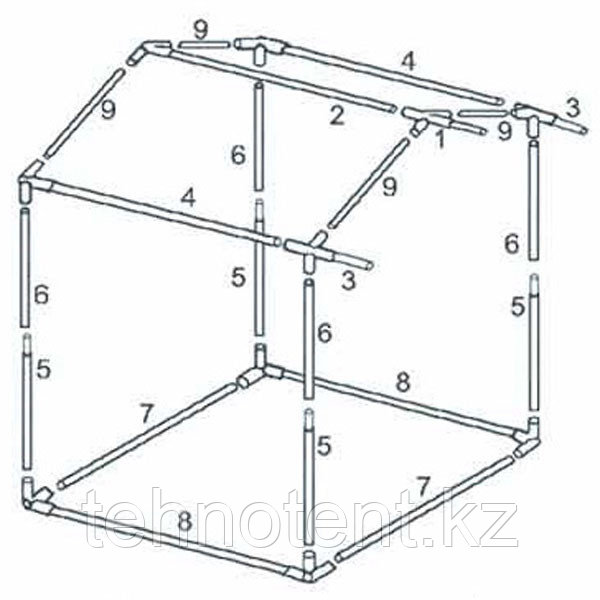 Каркас 2,0x2,0 м для палатки торговой «Домик» из квадратной трубы