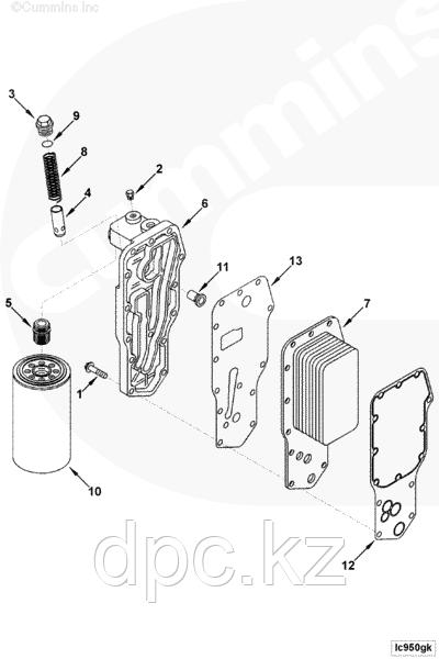 Прокладка охладителя моторного масла Cummins EQB 3942914 4932124 3929791 3926760 3918256 3914387 3904427