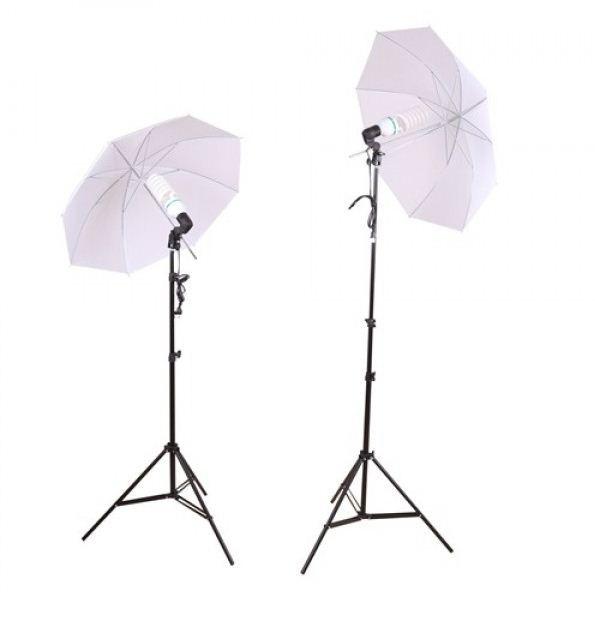 2 зонта 82 см на просвет с патроном с лампой 175 W на стойках