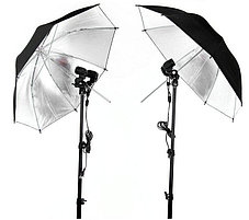2Х зонта 82 см на отражение с патроном с лампой 175 W на стойках, фото 2