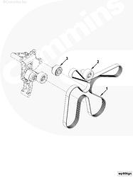 Ремень приводной генератора 8PK2166 Cummins ISF 2.8 5312821
