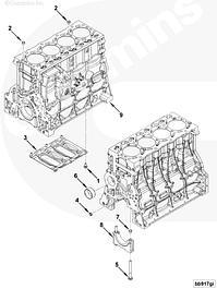 Блок цилиндров, распредвал, картеры, маховик, венец, масляный насос, втулки Сummins ISF 3.8L