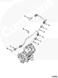 Трубка охлаждения компрессора подводящая Cummins ISF3.8 5255186