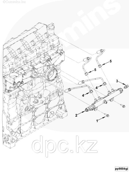 Трубка топливная от рейки к форсунке 3,4 цилиндра Cummins ISF 3,8 Евро-4 5284843