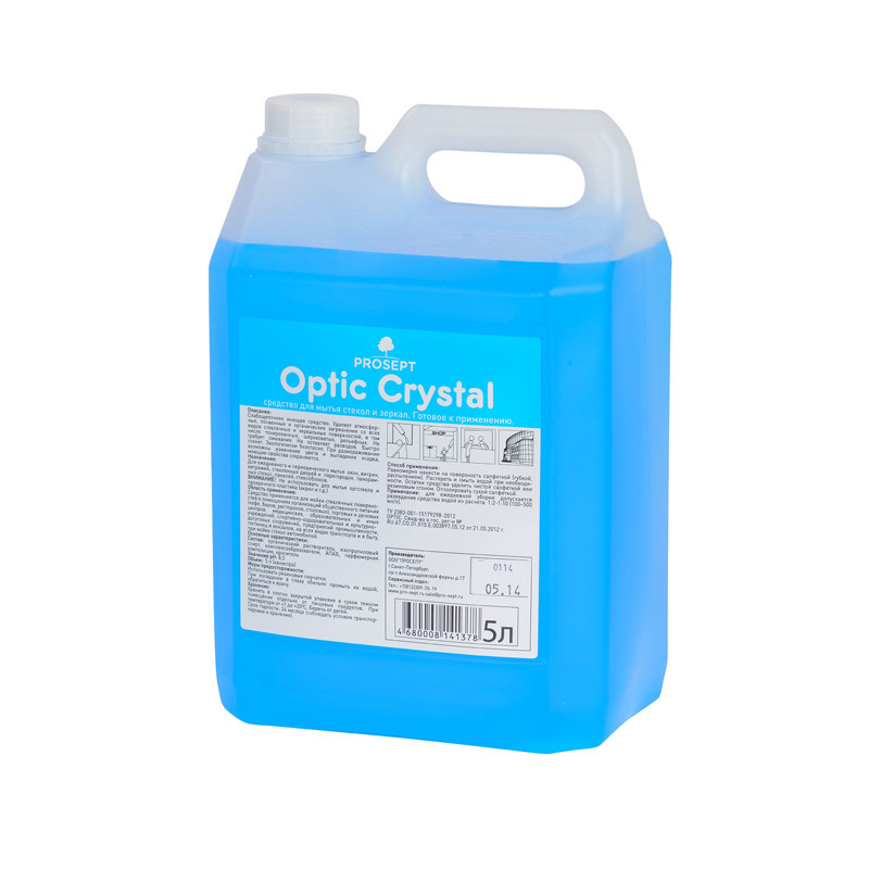 114-5 Optic Crystal. Cредство для мытья стекол и зеркал Готовое средство 5 литров