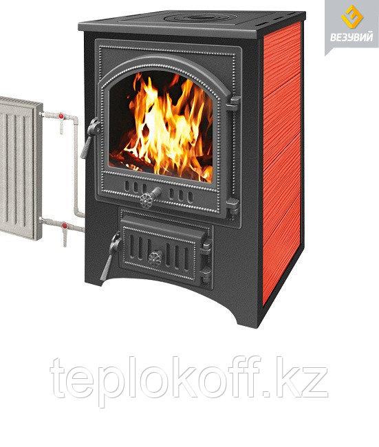 Печь-камин Везувий ПК-01 (205) со стеклом с плитой и т/о красный 12 кВт