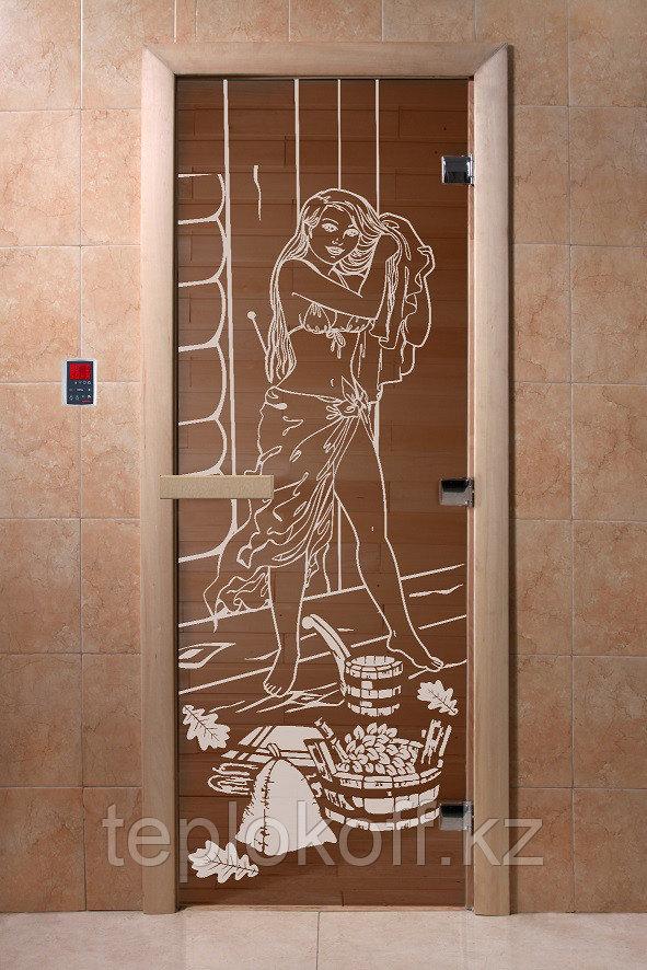 """Дверь стеклянная банная """"Дженифер"""", 3 петли,  стекло 8 мм, коробка Ольха"""