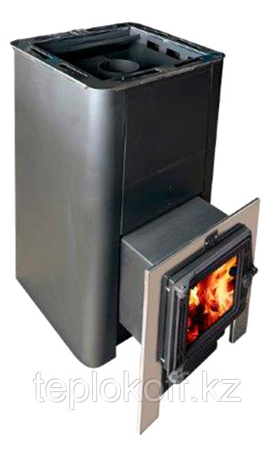 Печь для бани Конвектика Олимп Carbon 26 с парогенератором и чуг.дверцей со стеклом антрацит