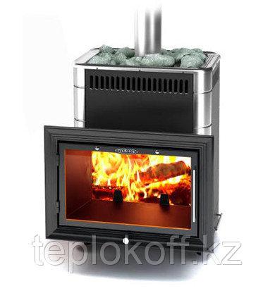 Печь для бани ТМФ Витрувия Carbon антрацит с теплообменником нерж.вставки