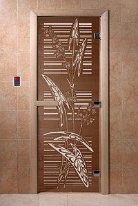 """Дверь стеклянная банная """"Листья"""", 3 петли,  стекло 8 мм, коробка Ольха"""