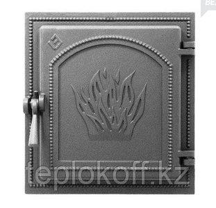 Дверца Везувий чугунная каминная, (271), 350x320 мм, антрацит