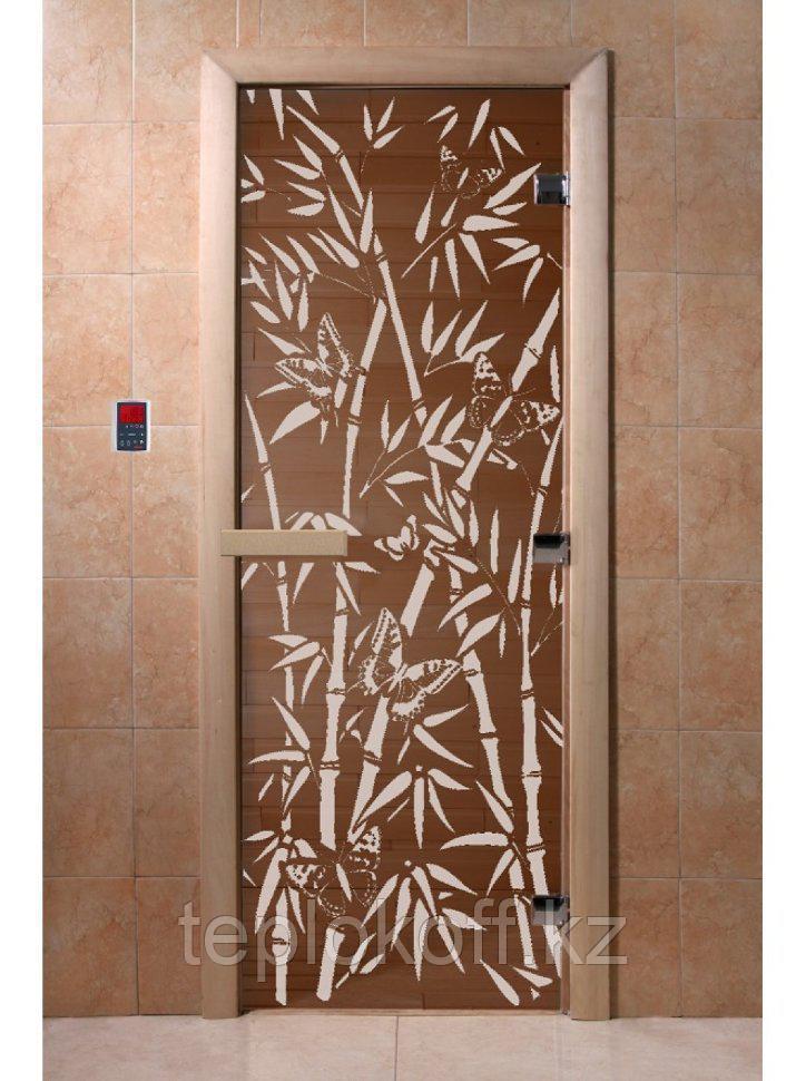 """Дверь стеклянная банная """"Бамбук и бабочки"""", 1900х700, (бронза), 2 петли,  стекло 6 мм, коробка Хвоя"""