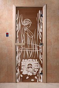 """Дверь стеклянная банная """"Волшебный пар"""", 3 петли,  стекло 8 мм, коробка Ольха"""
