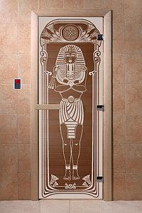 """Дверь стеклянная банная """"Египет"""", 3 петли,  стекло 8 мм, коробка Ольха"""