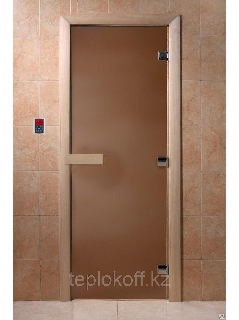 Дверь стеклянная DoorWood (стекло бронза матовое 8 мм, 3 петли, коробка листва) 2000*800 мм