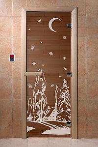 """Дверь стеклянная банная """"Зима"""", 3 петли,  стекло 8 мм, коробка Ольха"""
