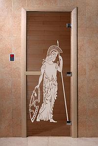 """Дверь стеклянная банная """"Рим"""", 3 петли,  стекло 8 мм, коробка Ольха"""