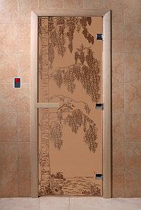 """Дверь стеклянная банная """"Березка"""" (бронза матовое), 1900х700, 3 петли,  стекло 8 мм, коробка Ольха"""