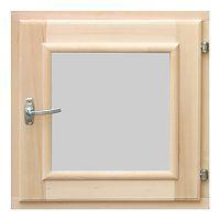 Форточка для бани деревянная со стеклопакетом 0,6х0,6 м с фурнитурой, ольха, Банный Эксперт