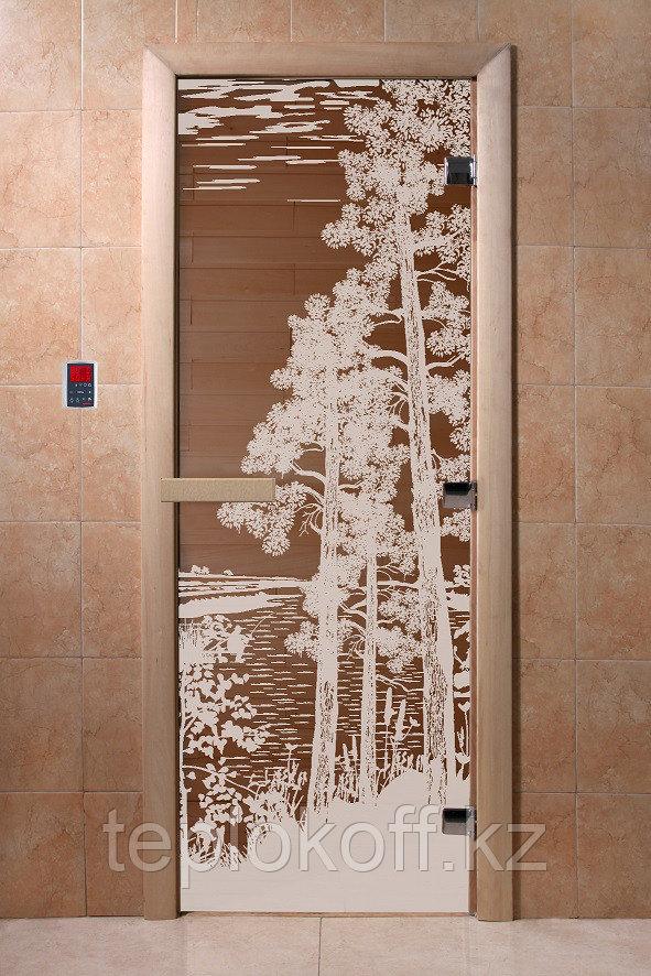 """Дверь стеклянная банная """"Рассвет"""", 3 петли,  стекло 8 мм, коробка Ольха"""