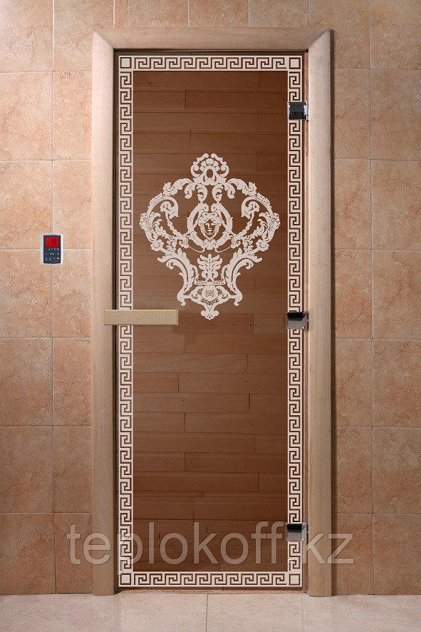 """Дверь стеклянная банная """"Византия"""", 3 петли,  стекло 8 мм, коробка Ольха"""