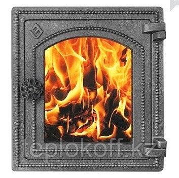 Дверца Везувий чугунная печная, (ДТ-4С), стекло,320х290мм, антрацит