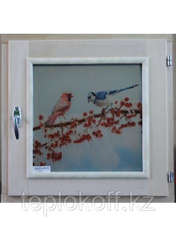 Форточка для бани деревянная со стеклопакетом 0,5х0,5 м, Зима с фурнитурой, Банный Эксперт