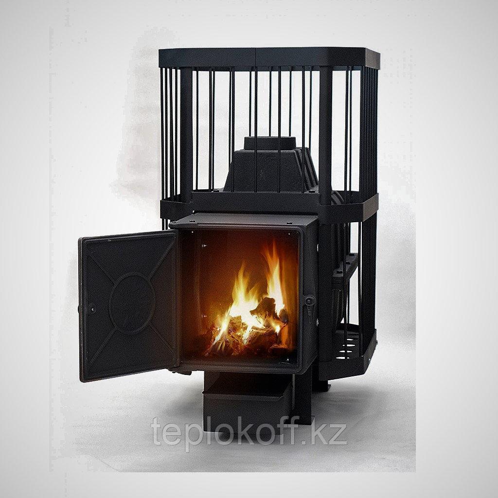 Печь банная дровяная Сибирь-24, чугунная дверка (сетка пруток)