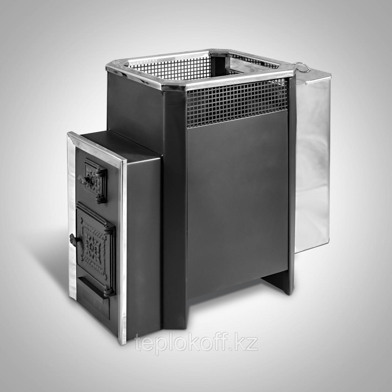 Печь банная Радуга-31Б, сталь 6 мм, под навесной бак 55л, дверца со стеклом