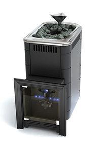 Печь для бани газовая ТМФ Таймыр Carbon закрытая каменка антрацит (без ГГУ)
