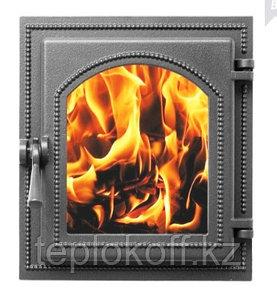 Дверца Везувий чугунная каминная, (220), 400*370 мм, стекло, антрацит