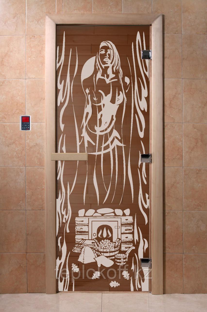 """Дверь стеклянная банная """"Горячий пар"""", 3 петли,  стекло 8 мм, коробка Ольха"""