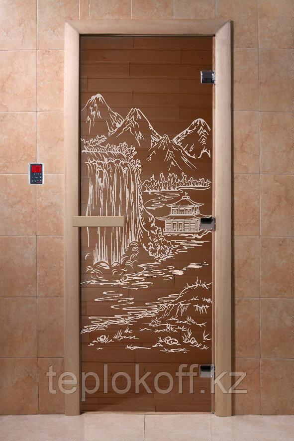 """Дверь стеклянная банная """"Китай"""", 3 петли,  стекло 8 мм, коробка Ольха"""