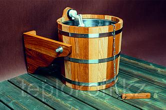 Обливное устройство банное Woodson 12 л дуб - ясень с нержавеющей вставкой