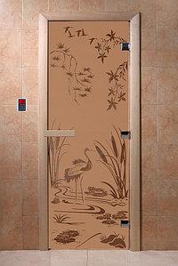 """Дверь стеклянная банная """"Камышовый рай"""", 3 петли,  стекло 8 мм, коробка Ольха"""