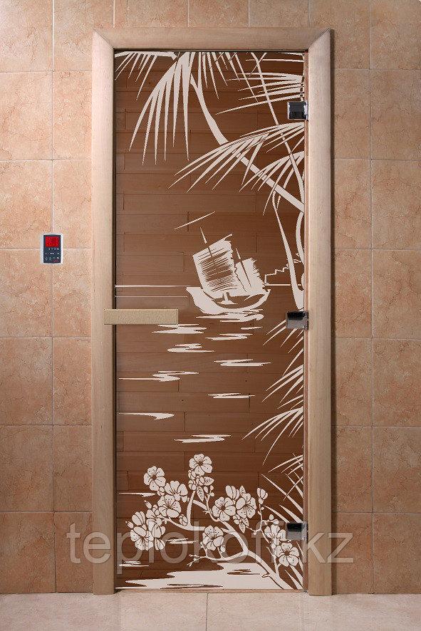 """Дверь стеклянная банная """"Голубая лагуна"""", 3 петли,  стекло 8 мм, коробка Ольха"""