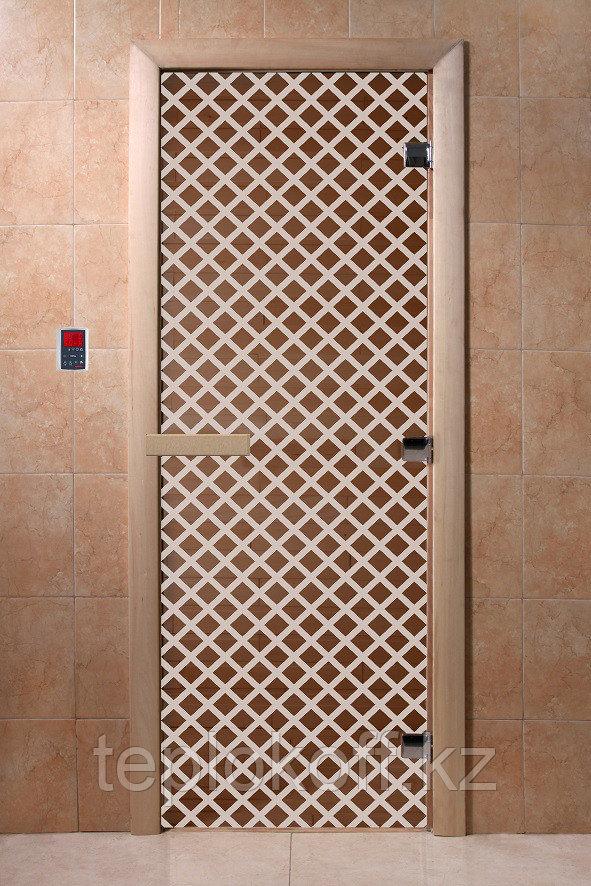 """Дверь стеклянная банная """"Мираж"""", 3 петли,  стекло 8 мм, коробка Ольха"""