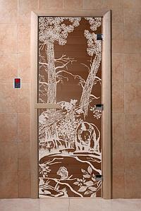 """Дверь стеклянная банная """"Мишки в лесу"""", 1900х700, (бронза), 3 петли,  стекло 8 мм, коробка Ольха"""