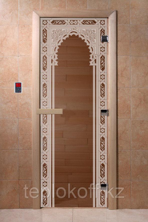 """Дверь стеклянная банная """"Восточная арка"""", 3 петли,  стекло 8 мм, коробка Ольха"""
