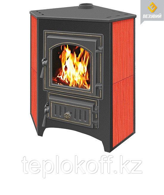 Печь-камин Везувий ПК-01 (220) угловой со стеклом красный 9 кВт